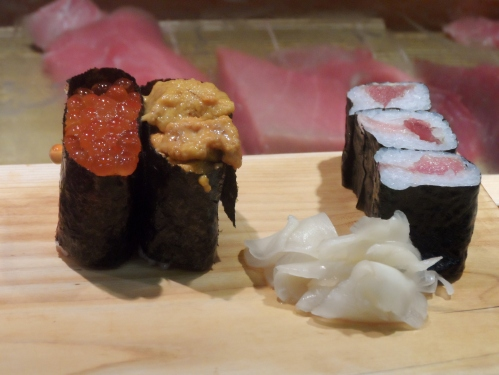 Ikura, sea urchin, and tuna roll