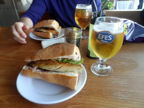 "Balik Ekmek -- literally ""fish bread."" Just a grilled fish sandwich. Touristy to eat at the restaurants right under the Galata Bridge but super fun."