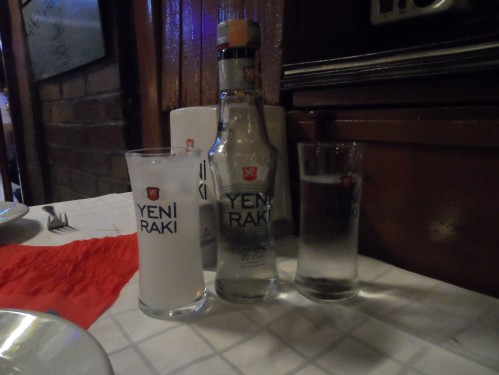 No Turkish meal is complete with raki, an anise-based liquor similar to ouzo. It's clear in the bottle but becomes milky white when diluted with water. Science! This is not a flavor Kat or I typically enjoy, but somehow with mezes it just goes really well.